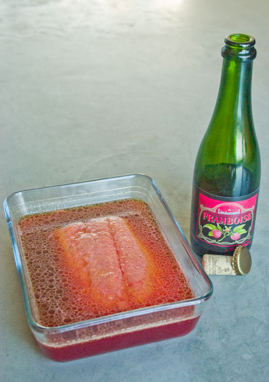in frambozenbier gemarineerde zalm