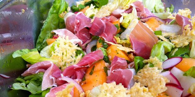 Salade met Ganda Ham en Meloensalsa