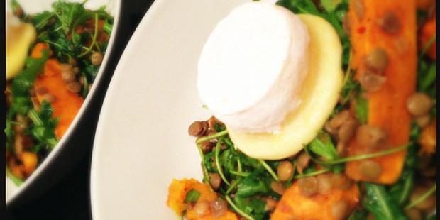 Salade met Linzen, Pompoen en Geitenkaas
