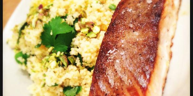 Couscous Salade met Mandarijntjes en Zalmhaasje