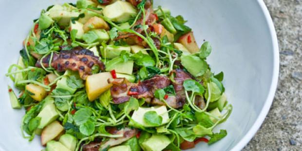 Salade van Avocado, Waterkers en Spek