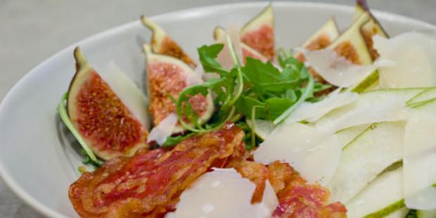 Salade met Peren, Pancetta en Vijgen