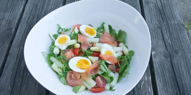Salade van Waterkers, Asperges en Zalm