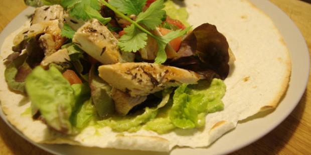 Tortilla met Kalkoen en Guacamole
